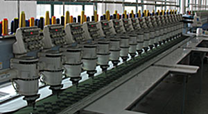 Modern 20-Head Machines Embroider on Sheets of Twill Material